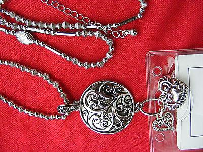 Tree of Scroll Heart ID Name Tag Holder Necklace