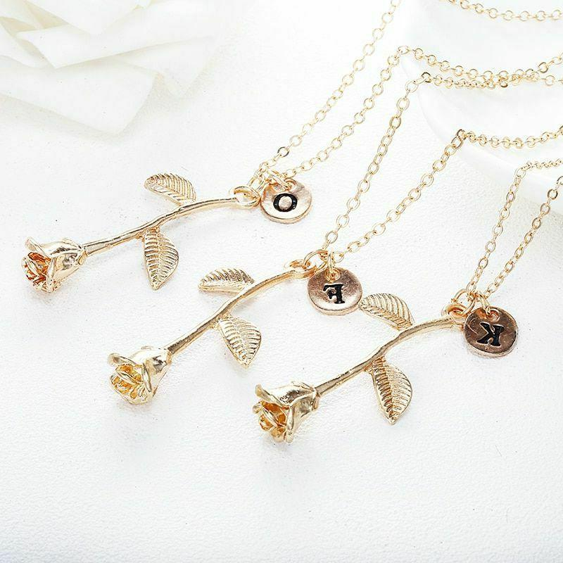 Women Letter Necklace Capital Initial Name Lady Flower Jewelry