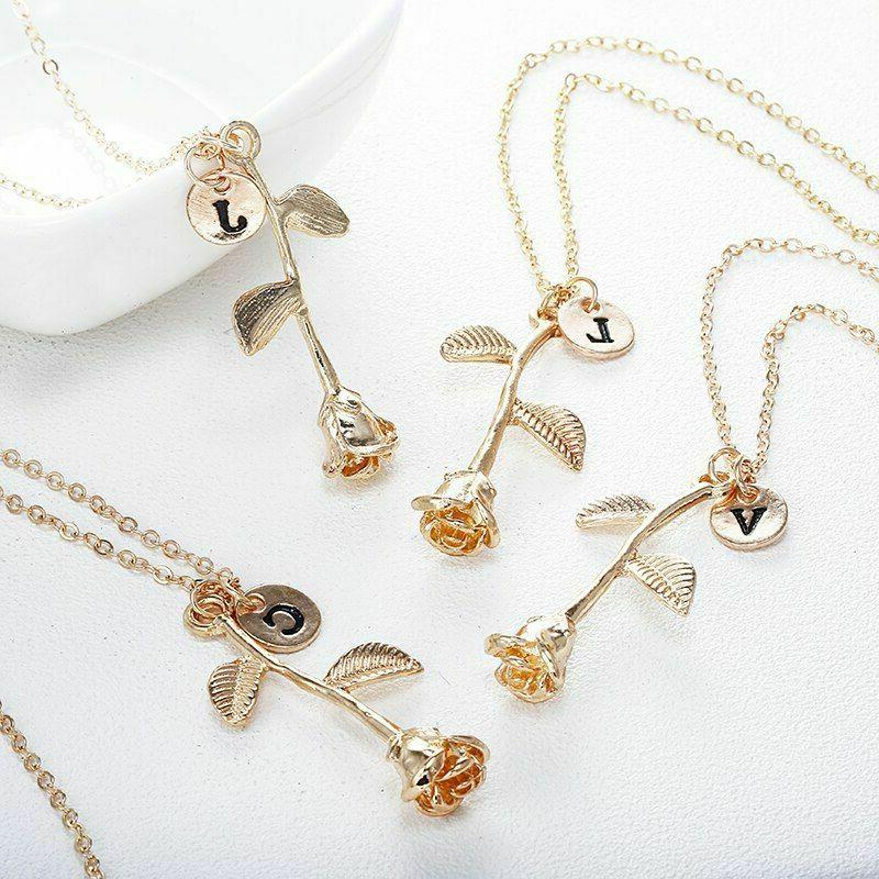 Women Initial Pendant Name Lady Flower Jewelry