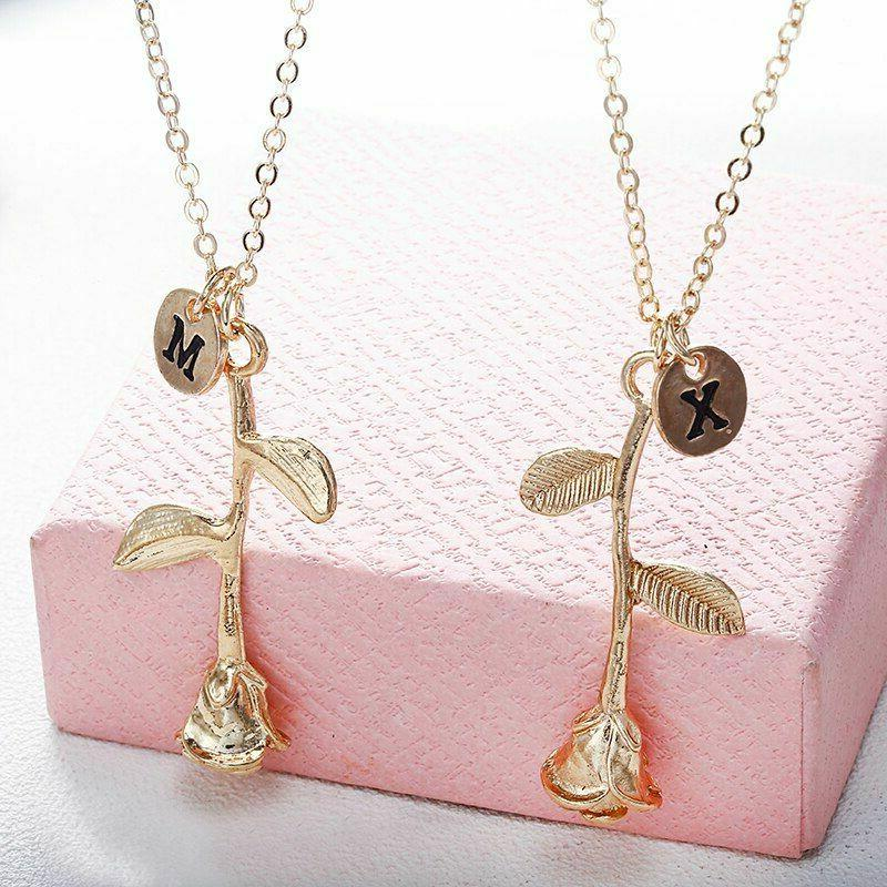 Women Letter Initial Name Necklaces Lady Flower