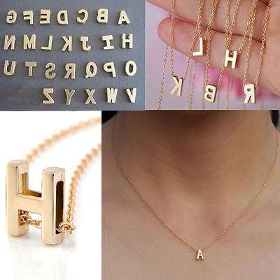 Hot 26 Letters Women Gold Plated Letter Name Initial Chain P