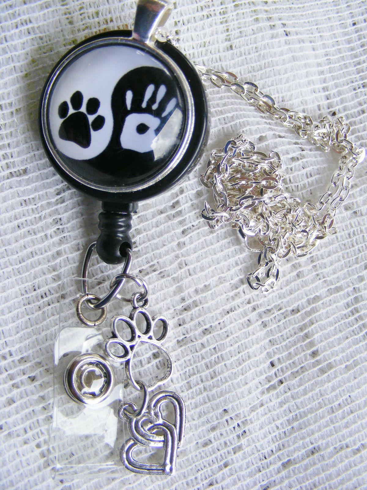 Yin Handprint Heart Name Tag Holder Necklace