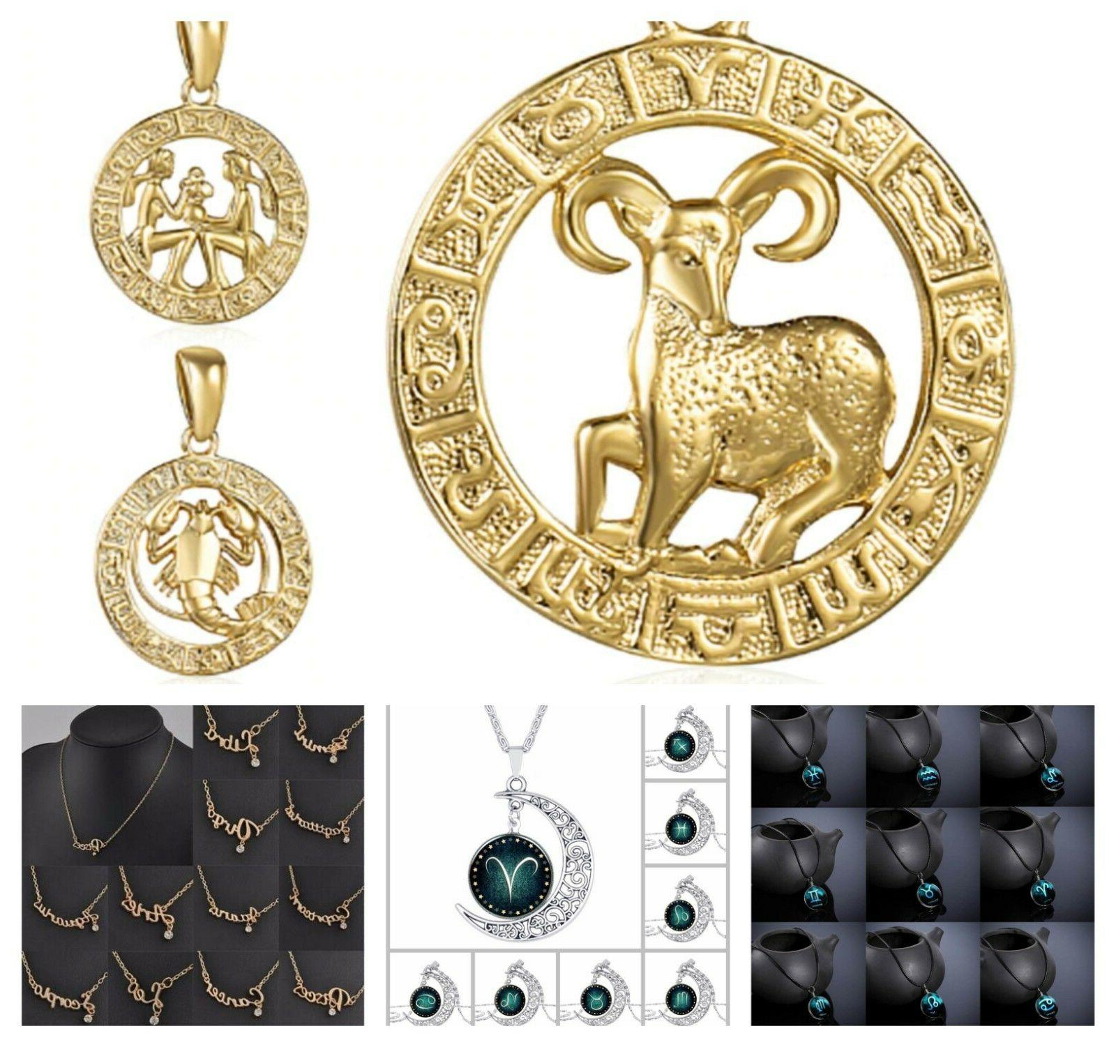 Zodiac Sign Necklace Chain Constellation Horoscope