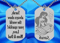 Little Mermaid Dog Tag Necklace for Kids, Personalized FREE