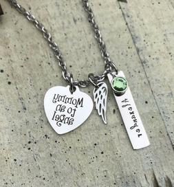 Memorial Necklace Personalized Angel Wing Child name Infant