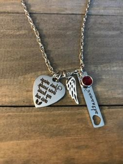Memorial Necklace Personalized name birthstone Angel Wing Lo