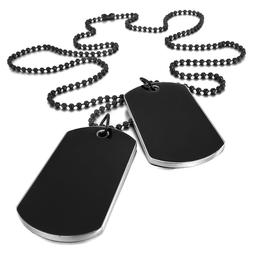 Men Black Army Style Name Double Dog Tag Plate Biker Pendant