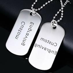 Men Double Dog Tag Pendant Necklace Stainless Steel ID Name