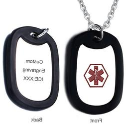 Men Medical Alert ID Name Dog Tag Pendant Necklace Personali