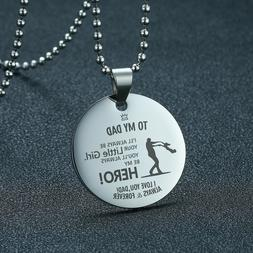 Men Necklace Dog Tag Coin Pendant Personalized Father's Day