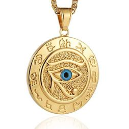 HZMAN Men's 18k Gold Plated Stainless Steel Bule Egypt Eye o