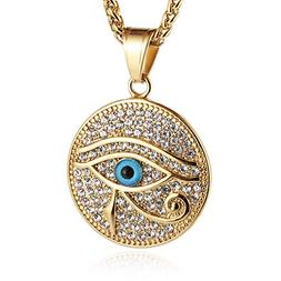 HZMAN Men's 18k Gold Plated Stainless Steel Egypt The Eye of