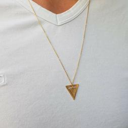 Men's Name necklace, triangle Necklace, Personalized Necklac