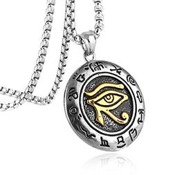HZMAN Men's Stainless Steel Egypt Eye of Horus Symbol of Pro