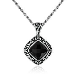 mens womens Stainless Steel Pendant Necklace CZ Crystal Squa