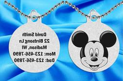 Mickey Mouse ID Necklace for Kids, Personalized FREE w Name!