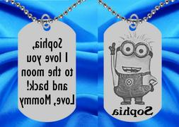 Minion Dog Tag Necklace for Kids, Personalized FREE with NAM