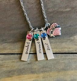 Mom Necklace Personalized daughter son Child's name birthsto
