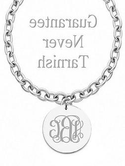 Personalized Monogram Initial Name Circle Charm Necklace Cus