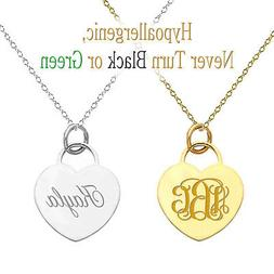 Personalized Monogram Initial Name Heart Pendant Necklace Cu