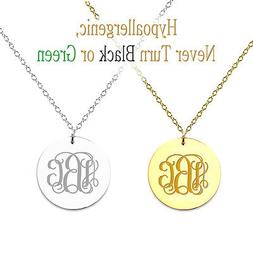 "Personalized Monogram Initial Name Necklace 7/8"" Circle Pend"