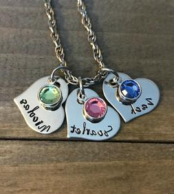 Mother Necklace Heart Personalized name daughter son birthst