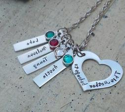 Mothers Day childrens Name birthstone Bar necklace Custom Pe
