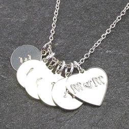 Mothers Day Gift Personalized Heart Mom Necklace Engraved Ki