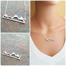 Mountain Bar Necklace - Mountain Skyline Sterling Silver Nec