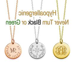 "Personalized Name 3/4"" Disc Necklace Custom Engraved Any Nam"