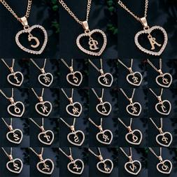 Name Initial Letter Necklace Rose Gold Color Heart Love Crys