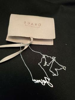 "Grace Personalized Name ""Jaime"" Sterling Silver Cursive Neck"