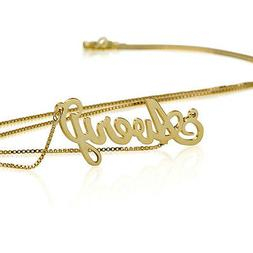 Name Necklace 18k Gold Plate Personalized Name Necklace - Cu