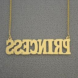 Name Necklace 10k Gold Custom Made Block Font Nameplate Char