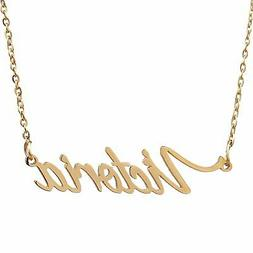 AOLO Name Necklace Gold Handwriting Necklace, Victoria