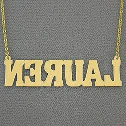 2 Inch Large Name Necklace 14k Gold Personalized Bold Block