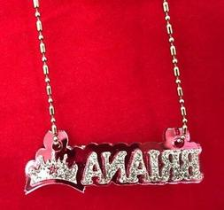Name Plate Custom Name Necklace Princess Crown Nameplate Las