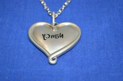 """Nancy Engraved Double SIded 1 1/4"""" Heart Name Necklace with"""