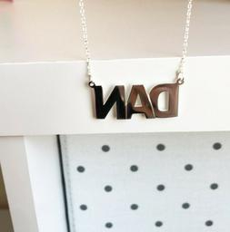 NWT Personalized Sterling Silver Name Plate Boy Necklace - D