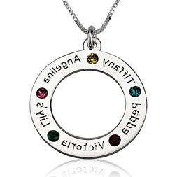 oNecklace - Mother Necklace with Birthstones and Engraved Na