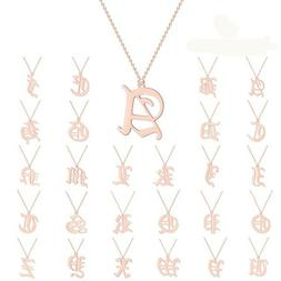 Old English Capital Initial A-Z Letter Name Pendant Necklace