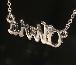 OLIVIA Name Necklace with Rhinestone Gold or Silver Tone