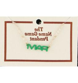 Pam Name Game Necklace Gold Tone Jewelry Green Pendant Vinta