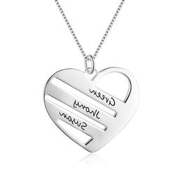 Personalised Heart Love Pendant Engrave Family Friend Name N