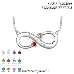 Personalised Infinity Style Pendant Name Necklace Birthstone