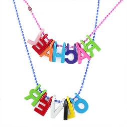 PERSONALISED NAME NECKLACE Colourful Letters pink blue chain