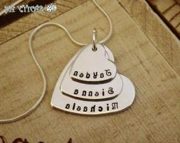 Personalised Necklace Childrens Names Three Heart, Gift, Gra