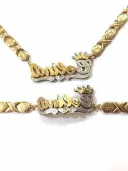 Personalized 14k gold overlay 3D xoxo Name Necklace and brac