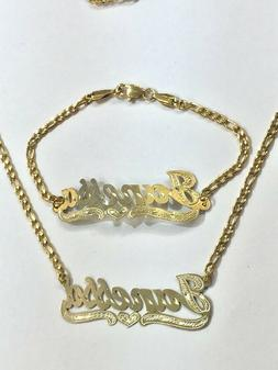 Personalized 14k gold overlay Name Necklace and bracelet set