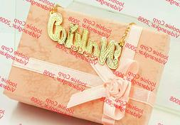 PERSONALIZED 14K GOLD PLATED  NAME PLATE CHAIN NECKLACE * CH